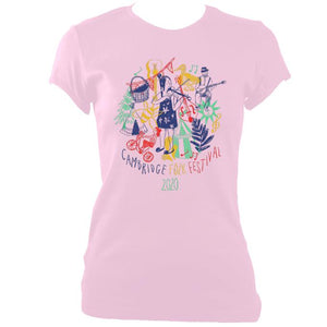 update alt-text with template Cambridge Folk Festival - Design 9 - Women's Fitted T-shirt - T-shirt - Light Pink - Mudchutney