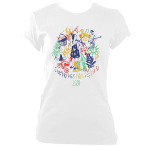 update alt-text with template Cambridge Folk Festival - Design 9 - Women's Fitted T-shirt - T-shirt - White - Mudchutney