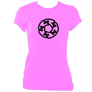 update alt-text with template Celtic Wheel Ladies Fitted T-shirt - T-shirt - Azalea - Mudchutney