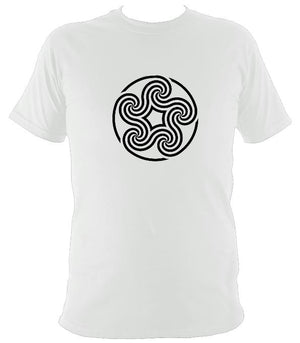 Swirling Celtic Five Spiral T-shirt - T-shirt - White - Mudchutney