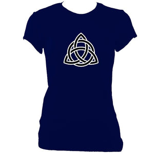 update alt-text with template Celtic Triangular Knot Ladies Fitted T-shirt - T-shirt - Navy - Mudchutney
