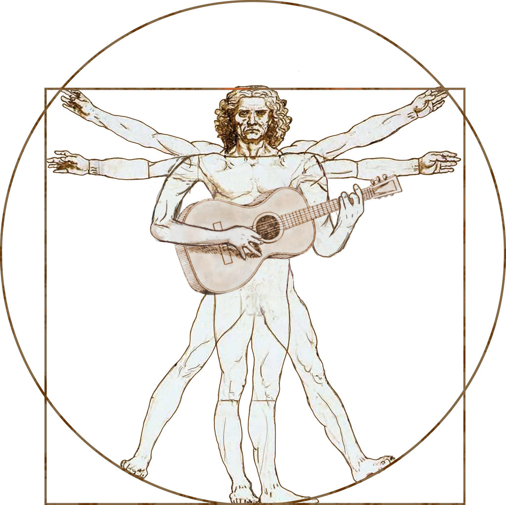 Da Vinci Vitruvian Man Playing Guitar T-Shirt - T-shirt - - Mudchutney