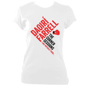 update alt-text with template Daoiri Farrell Corner Session Boxing Glove Women's Fitted T-shirt - T-shirt - White - Mudchutney