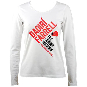 Daoiri Farrell Corner Session Boxing Glove Women's Long Sleeve Shirt - Long Sleeved Shirt - White - Mudchutney