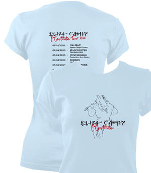 update alt-text with template Eliza Carthy Restitute Tour 2020 Ladies Fitted T-shirt - T-shirt - Light Blue - Mudchutney