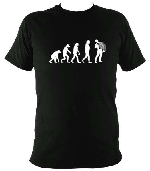 Evolution of Accordion Players T-shirt - T-shirt - Black - Mudchutney