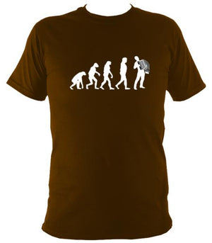 Evolution of Accordion Players T-shirt - T-shirt - Brown - Mudchutney
