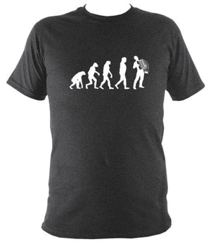 Evolution of Accordion Players T-shirt - T-shirt - Dark Heather - Mudchutney