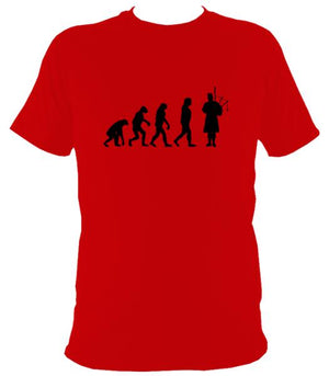Evolution of Bagpipe Players T-shirt - T-shirt - Red - Mudchutney