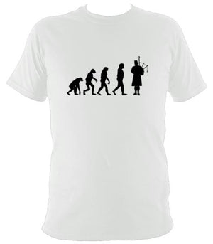 Evolution of Bagpipe Players T-shirt - T-shirt - White - Mudchutney