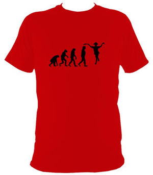 Evolution of Morris Dancers T-shirt - T-shirt - Red - Mudchutney