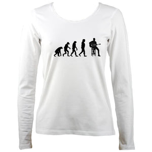 Evolution of Guitar Players Ladies Long Sleeve Shirt - Long Sleeved Shirt - White - Mudchutney