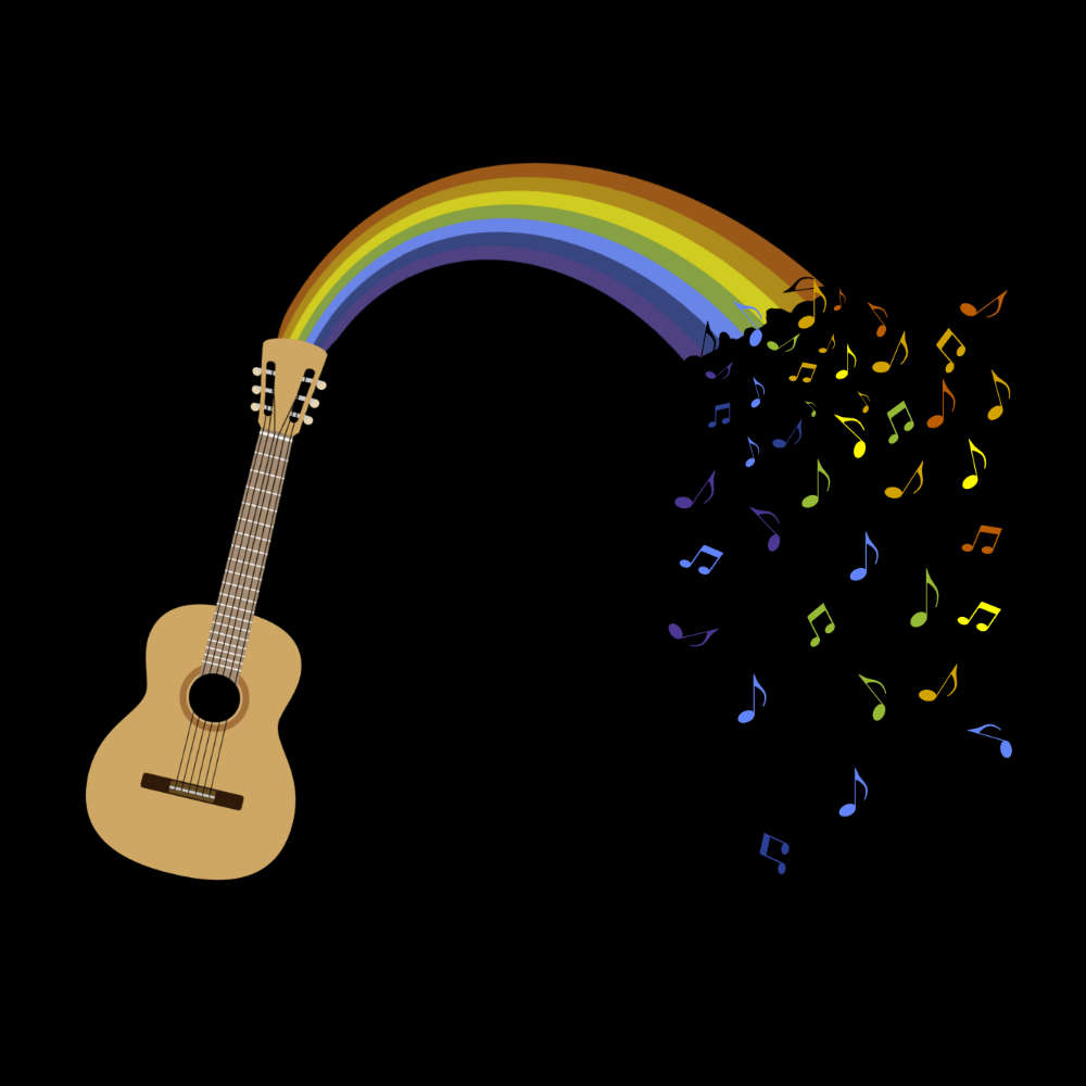 Rainbow Guitar Spouting Colourful Music T-Shirt - T-shirt - - Mudchutney