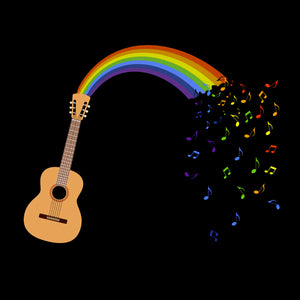 update alt-text with template Rainbow Guitar Spouting Music Ladies Fitted T-shirt - T-shirt - Black - Mudchutney