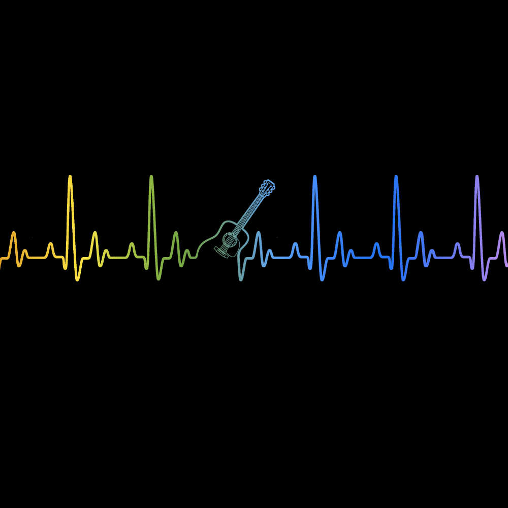 Guitar Heartbeat in Rainbow Colours T-Shirt - T-shirt - - Mudchutney