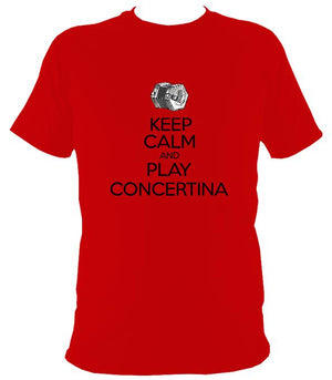 Keep Calm & Play English Concertina T-shirt - T-shirt - Red - Mudchutney