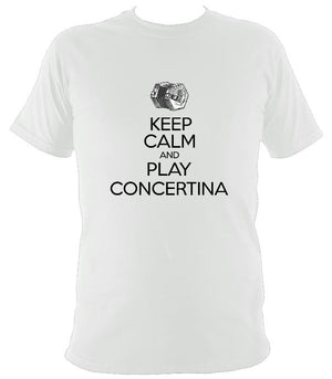 Keep Calm & Play English Concertina T-shirt - T-shirt - White - Mudchutney