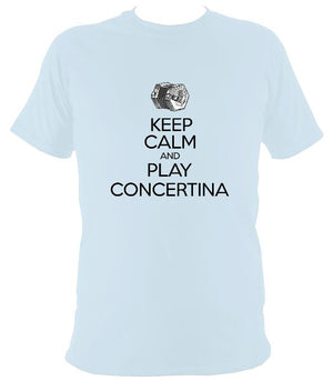 Keep Calm & Play English Concertina T-shirt - T-shirt - Light Blue - Mudchutney