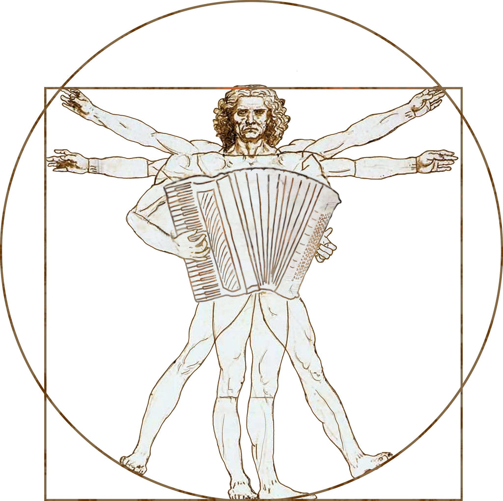 Da Vinci Vitruvian Man Playing Accordion Hoodie-Hoodie-Mudchutney
