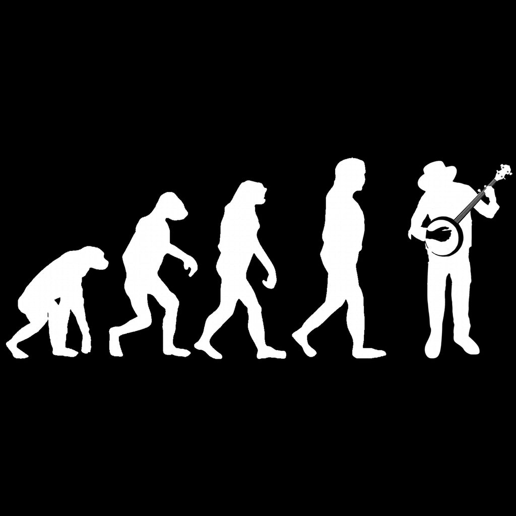update alt-text with template Evolution of Banjo Players Ladies Fitted T-shirt - T-shirt - Black - Mudchutney