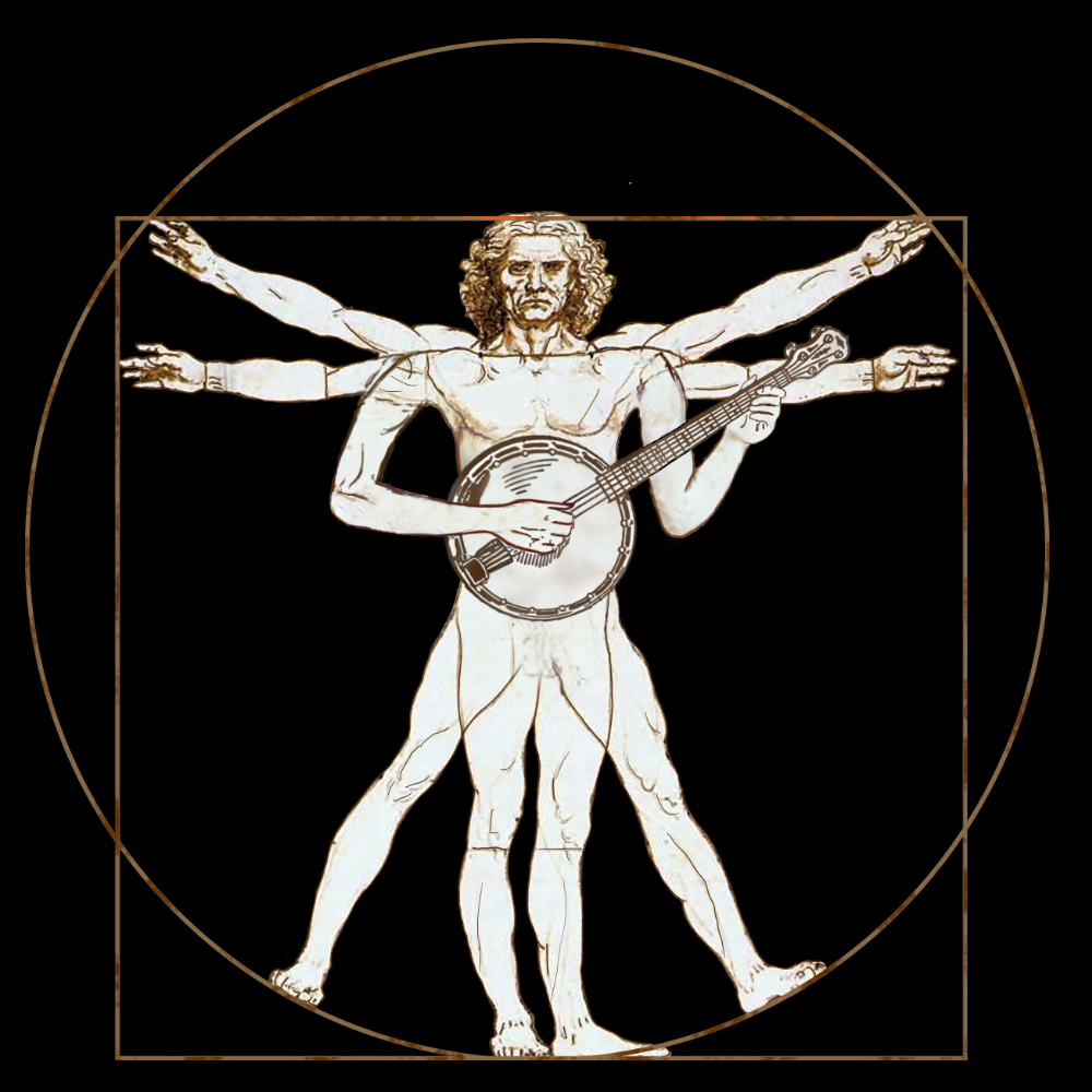 Da Vinci Vitruvian Man Playing Banjo Sweatshirt