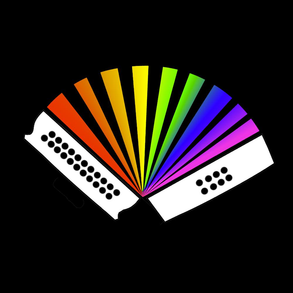 update alt-text with template Rainbow Melodeon Ladies Fitted T-shirt - T-shirt - Black - Mudchutney