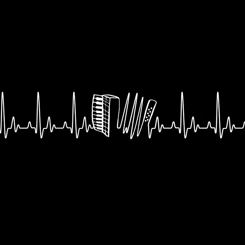 update alt-text with template Heartbeat Accordion Ladies Fitted T-shirt - T-shirt - Black - Mudchutney