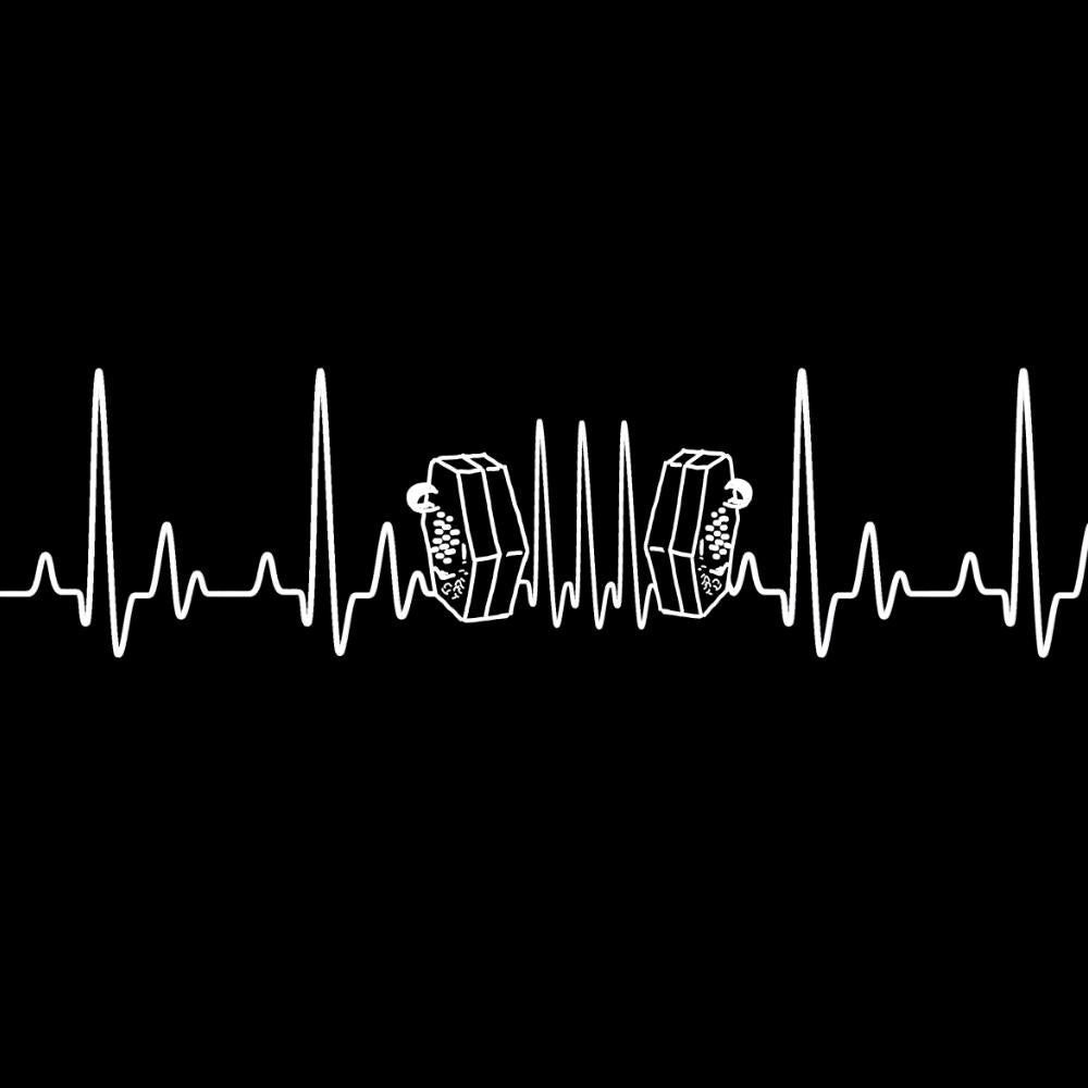 update alt-text with template Heartbeat Concertina Ladies Fitted T-shirt - T-shirt - Black - Mudchutney