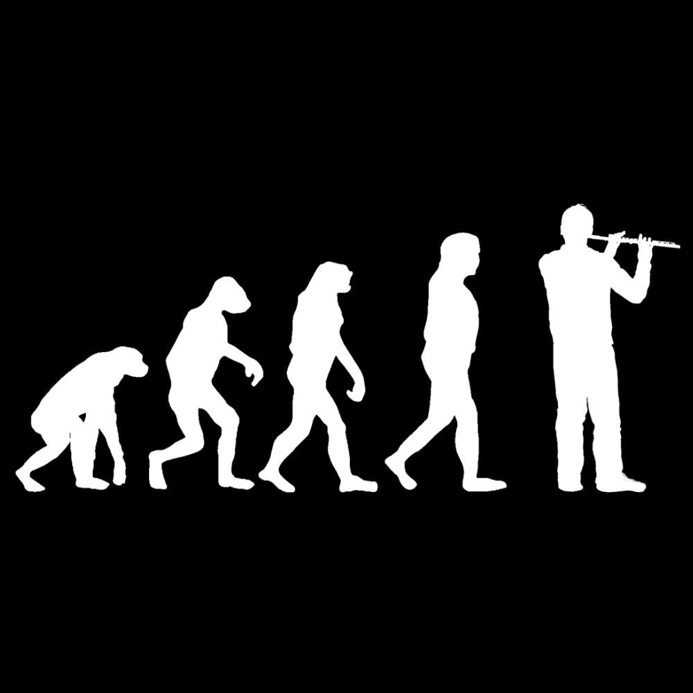update alt-text with template Evolution of Flute Players Ladies Fitted T-shirt - T-shirt - Black - Mudchutney