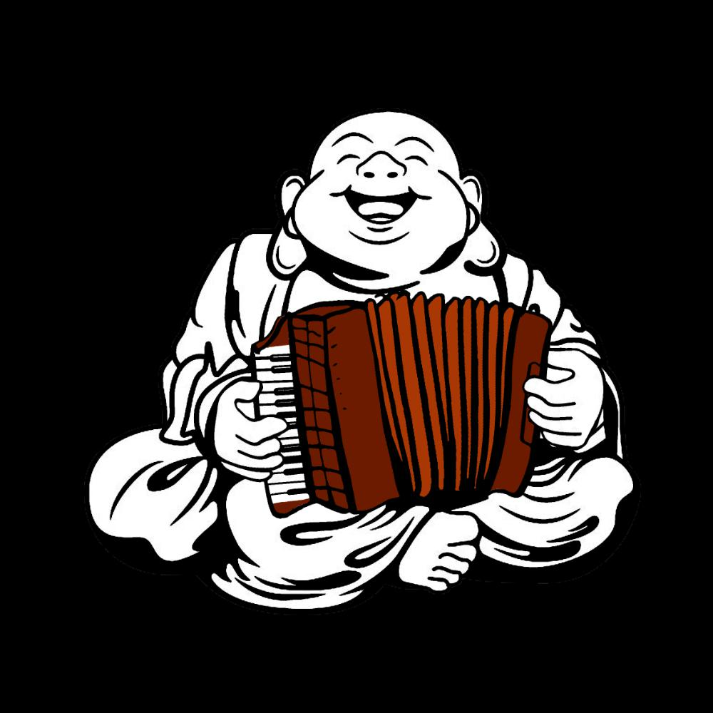 Piano Accordion Playing Buddha T-shirt - T-shirt - - Mudchutney