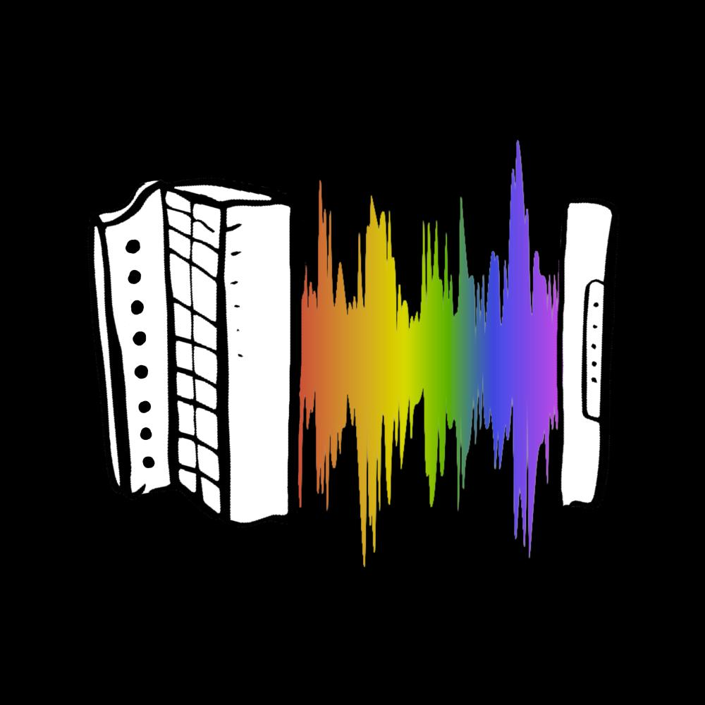 update alt-text with template Rainbow Sound Wave Melodeon Ladies Fitted T-shirt - T-shirt - Black - Mudchutney