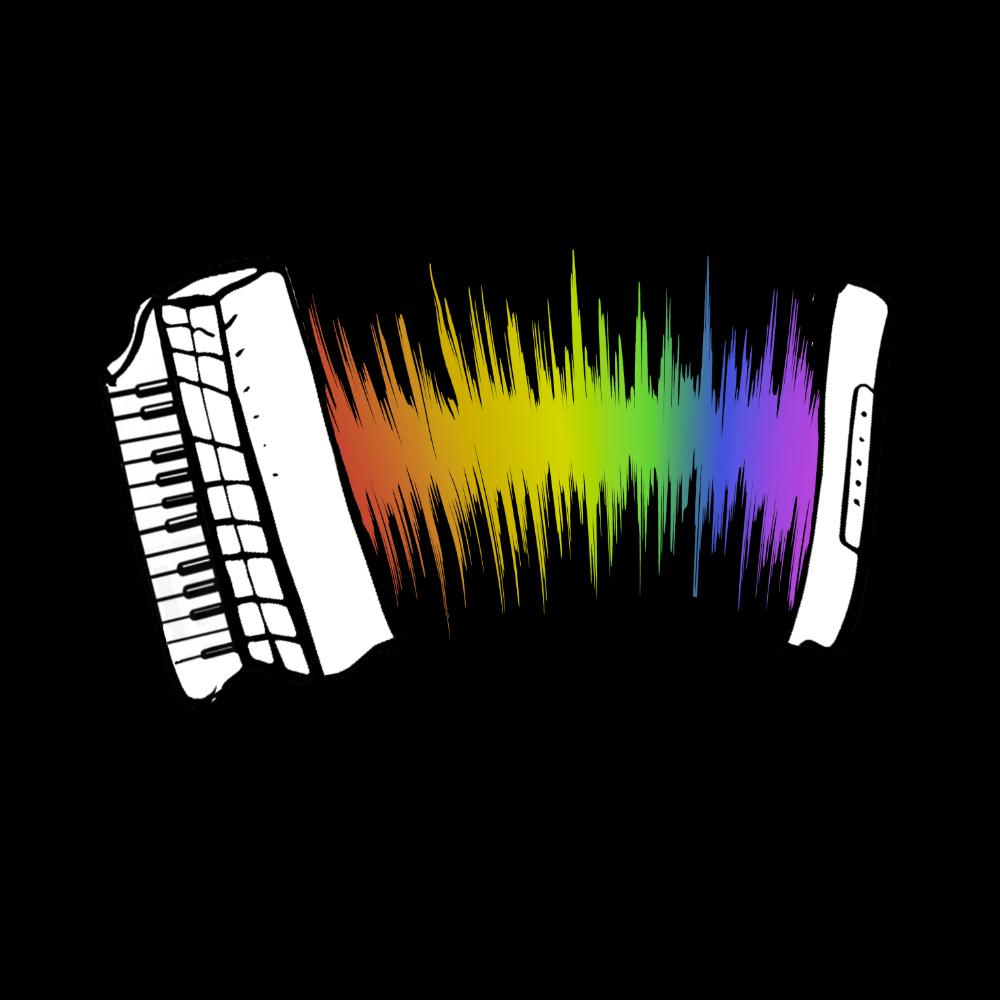update alt-text with template Rainbow Sound Wave Piano Accordion Fitted T-shirt - T-shirt - Black - Mudchutney