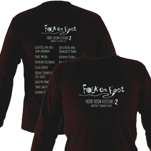 "Folk on Foot ""Front Room Festival 2"" Mens Long Sleeve Shirt - Long Sleeved Shirt - Dark chocolate - Mudchutney"