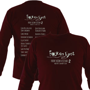 "Folk on Foot ""Front Room Festival 2"" Mens Long Sleeve Shirt - Long Sleeved Shirt - Maroon - Mudchutney"