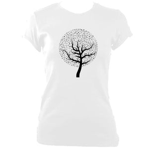 update alt-text with template Musical Notes Tree Ladies Fitted T-shirt - T-shirt - White - Mudchutney