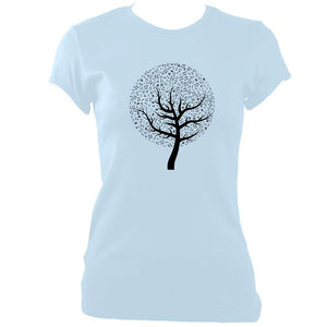 update alt-text with template Musical Notes Tree Ladies Fitted T-shirt - T-shirt - Light Blue - Mudchutney