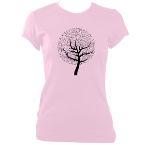 update alt-text with template Musical Notes Tree Ladies Fitted T-shirt - T-shirt - Light Pink - Mudchutney