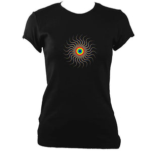 update alt-text with template Wavy Spiral Fitted T-Shirt - T-shirt - Black - Mudchutney