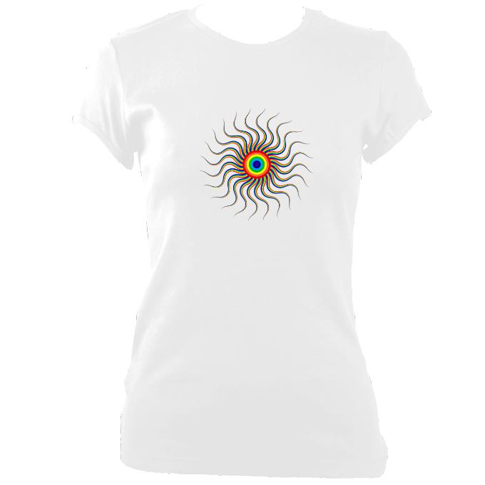 update alt-text with template Wavy Spiral Fitted T-Shirt - T-shirt - White - Mudchutney