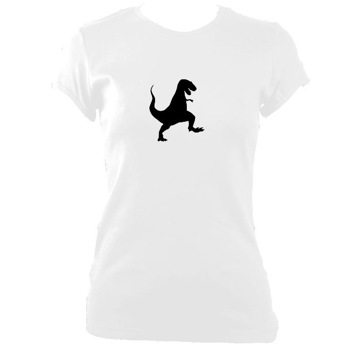 update alt-text with template Dancing Dinosaur Fitted T-Shirt - T-shirt - White - Mudchutney