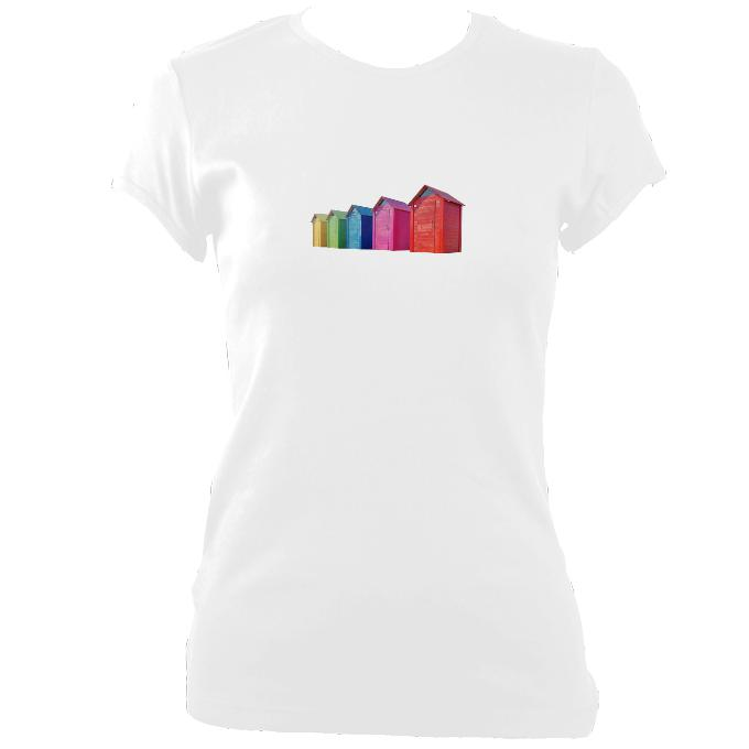 update alt-text with template Beach Huts Fitted T-Shirt - T-shirt - White - Mudchutney