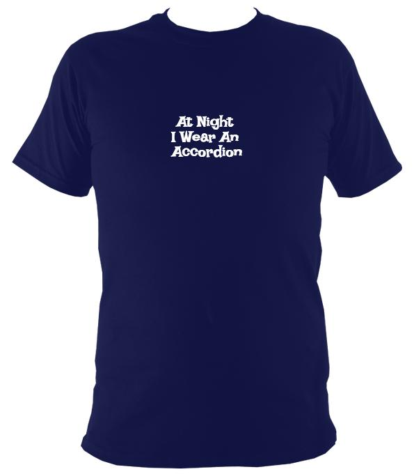 At Night I Wear An Accordion T-Shirt - T-shirt - Navy - Mudchutney