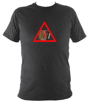 Warning Melodeon T-Shirt - T-shirt - Dark Heather - Mudchutney