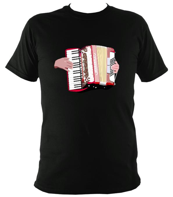 Piano Accordion and Hands T-Shirt - T-shirt - Black - Mudchutney
