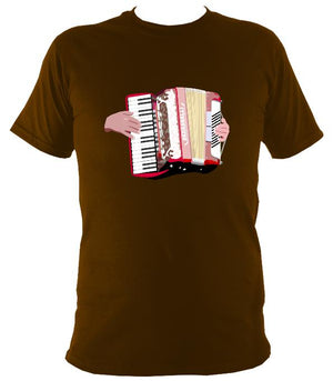 Piano Accordion and Hands T-Shirt - T-shirt - Dark Chocolate - Mudchutney