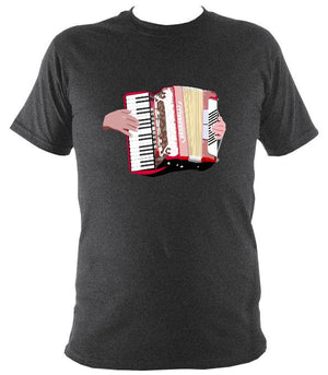Piano Accordion and Hands T-Shirt - T-shirt - Dark Heather - Mudchutney