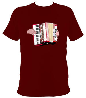 Piano Accordion and Hands T-Shirt - T-shirt - Maroon - Mudchutney