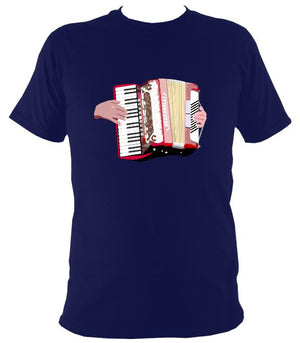 Piano Accordion and Hands T-Shirt - T-shirt - Navy - Mudchutney