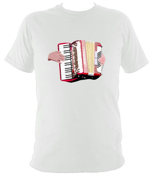 Piano Accordion and Hands T-Shirt - T-shirt - White - Mudchutney