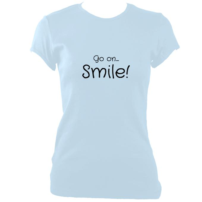 "update alt-text with template ""Go on, Smile"" Fitted T-shirt - T-shirt - Light Blue - Mudchutney"